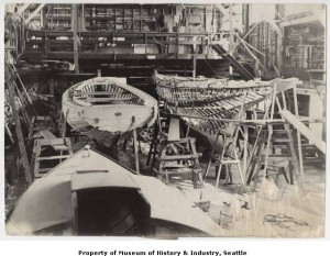 Aura on the left, Marmetta on the right, under construction at Blanchard Boat Co, Lake Union,Seattle, in 1948