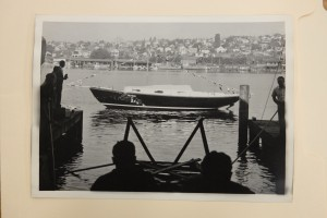 the launch of Aura's sister ship, the last Blanchard 33 built, in 1951. Credit MOHAI